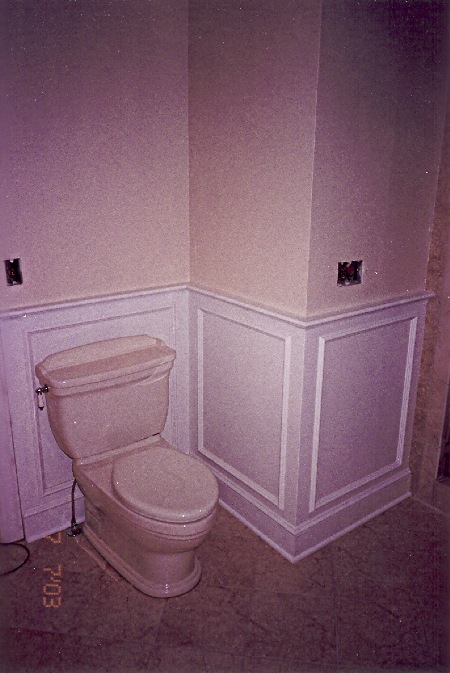 Wall Paneling In Bath Applied Molding Style Painted White
