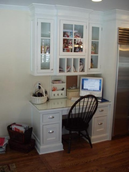Custom Built Desk Area For Kitchen Glass Top Protects